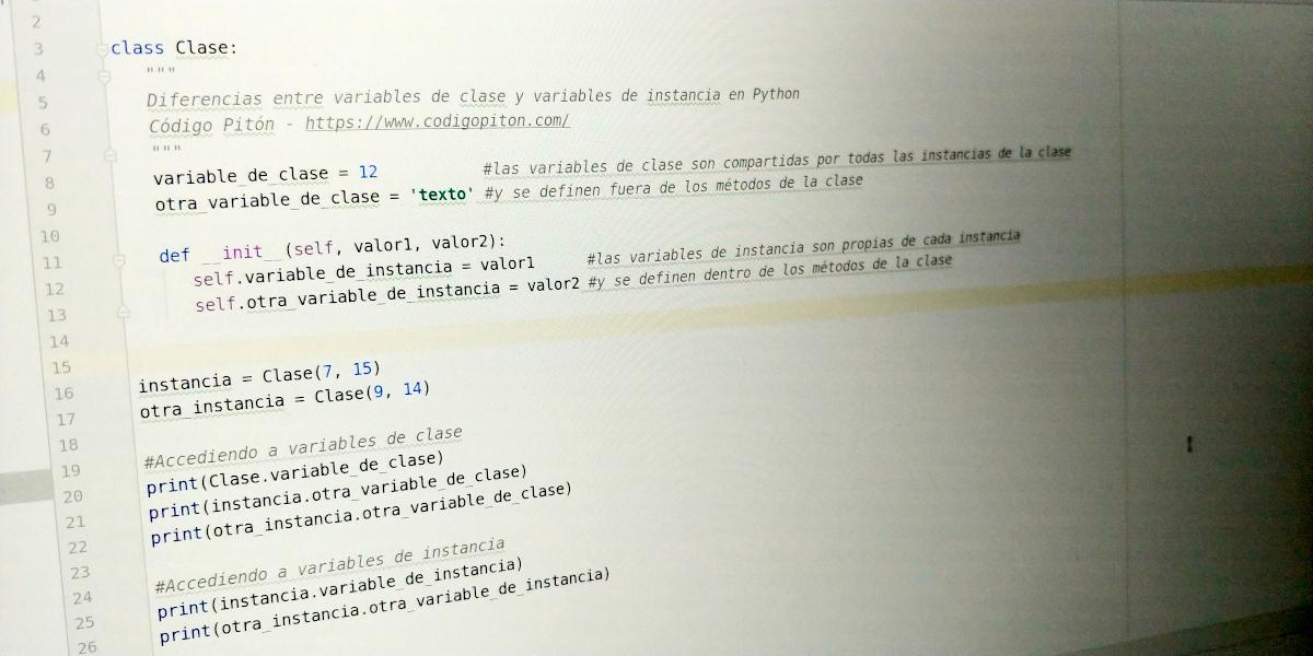 Variables de clase y de instancia en Python